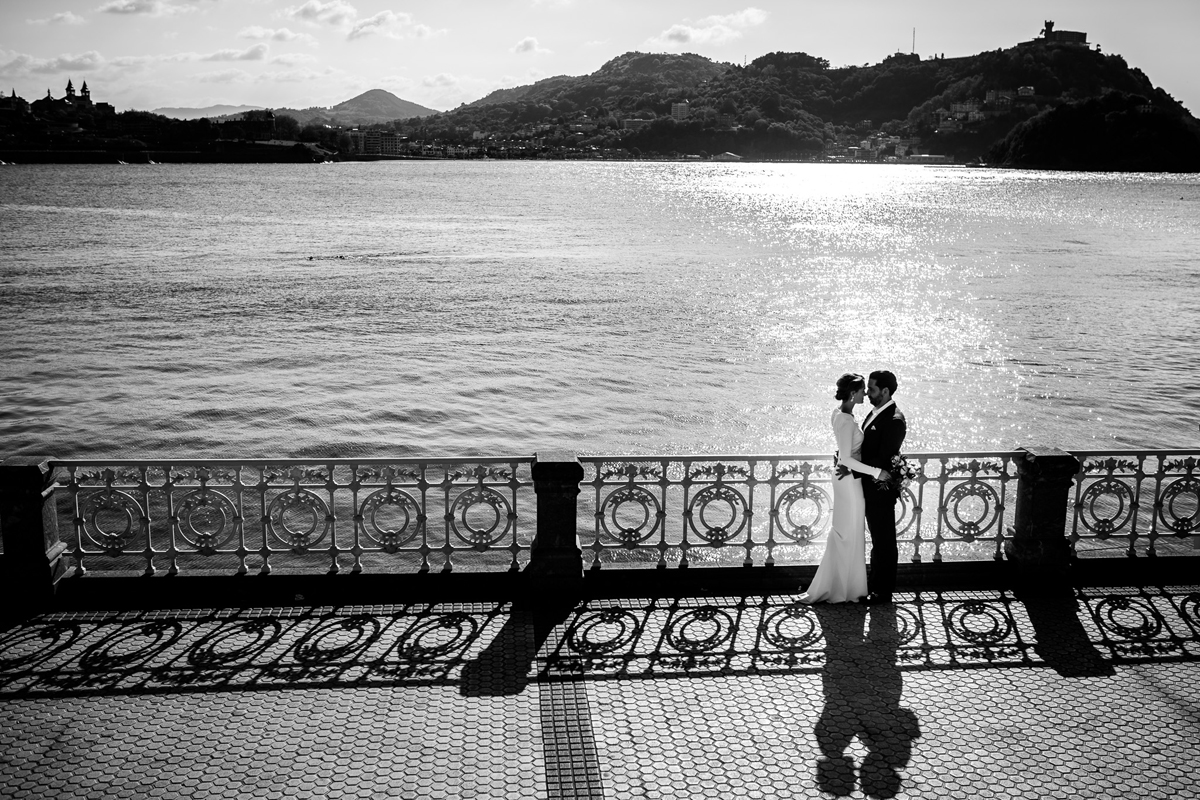 Wedding portrait in la concha beach san sebastian